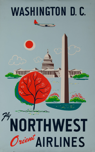 Northwest Orient Airlines Original Travel Poster Washingtoin D.C