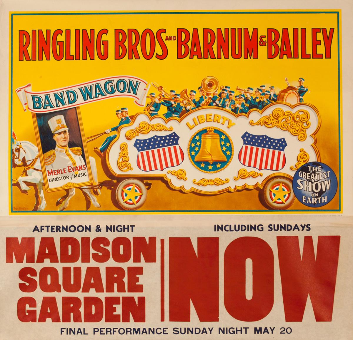 Ringling Brothers Barnum and Bailey Circus Original Poster, Liberty Band Wagon