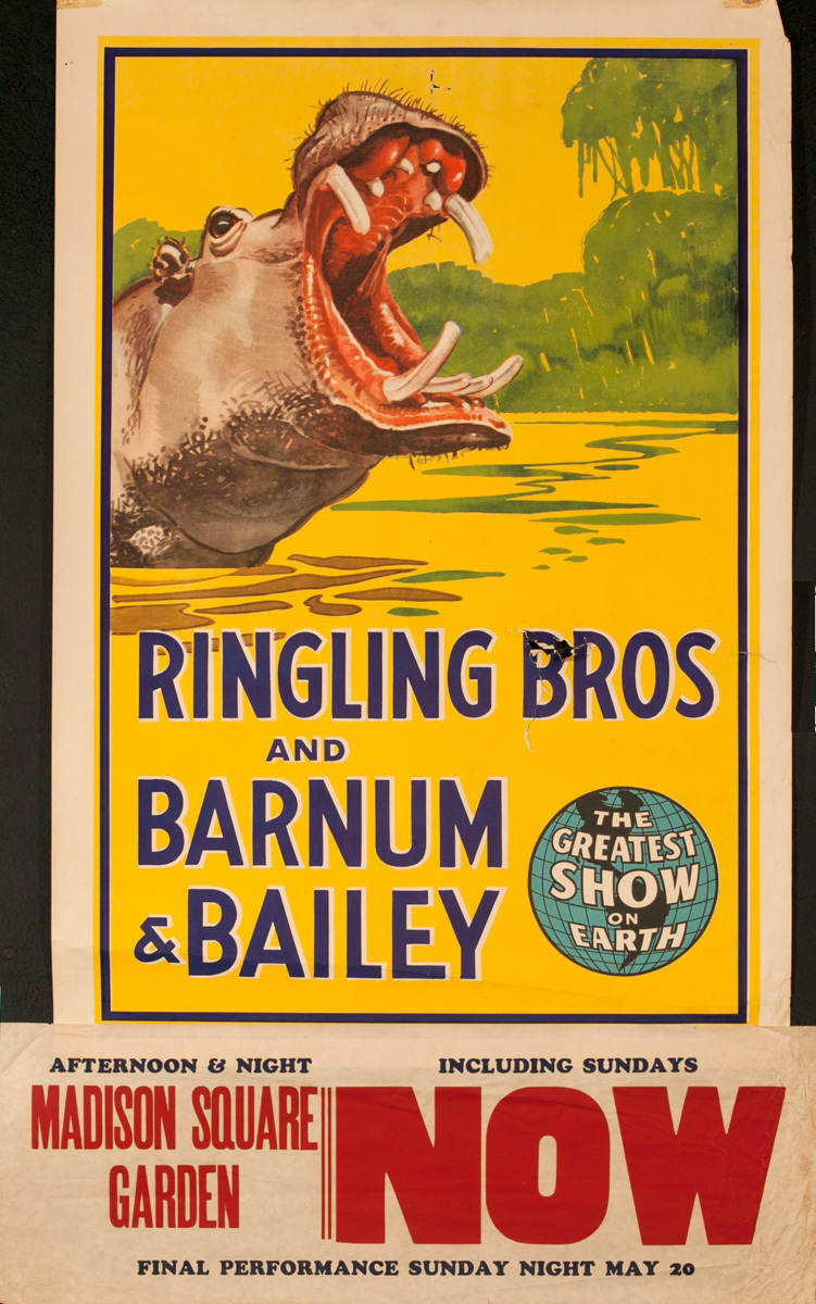 Ringling Brothers Barnum and Bailey Circus Original Poster, Hippo