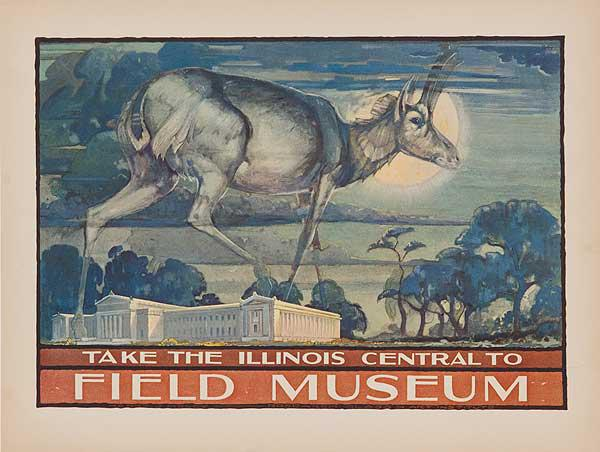 Take the Illinois Central to The Field Museum, Chicago Original Advertising Poster Antelope
