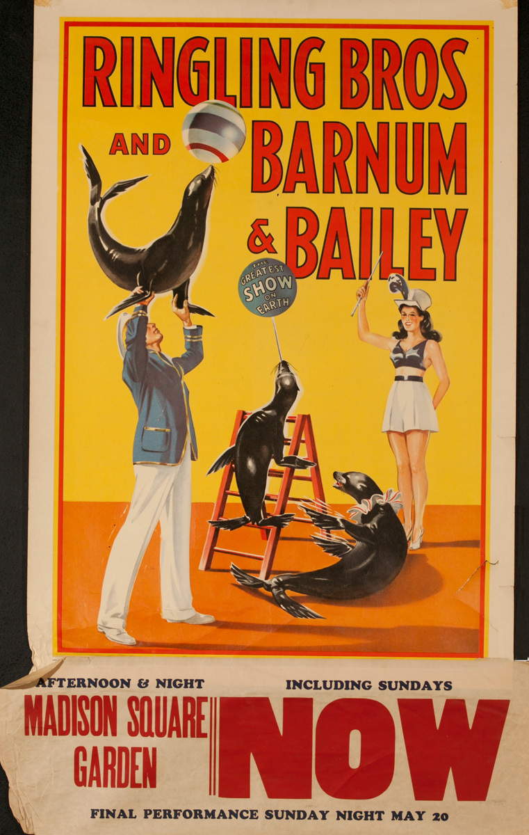 Ringling Brothers Barnum and Bailey Circus Original Poster, Greatest Show On Earth Seal Act