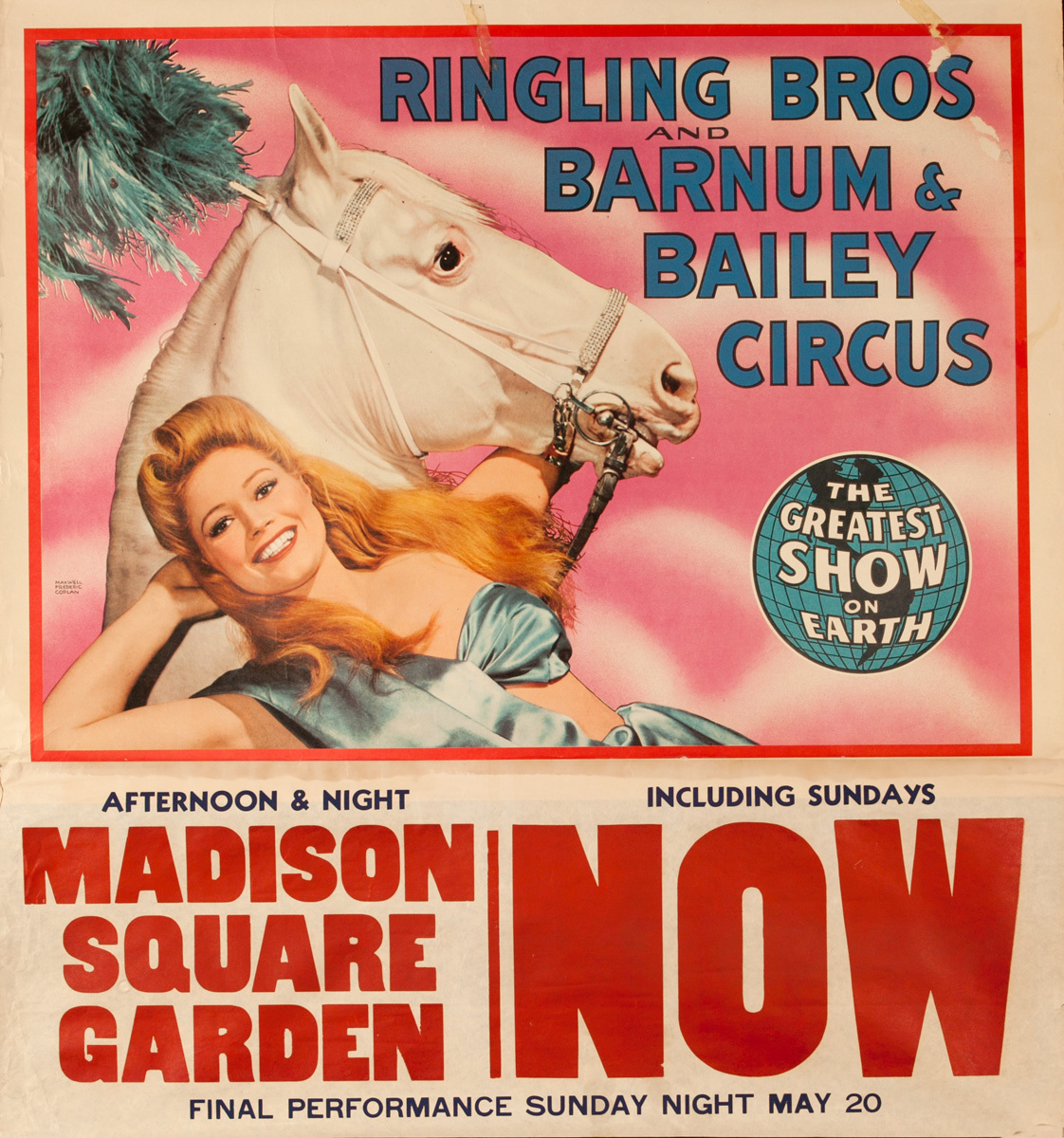 Ringling Brothers Barnum and Bailey Circus Original Poster, Showgirl with Horse