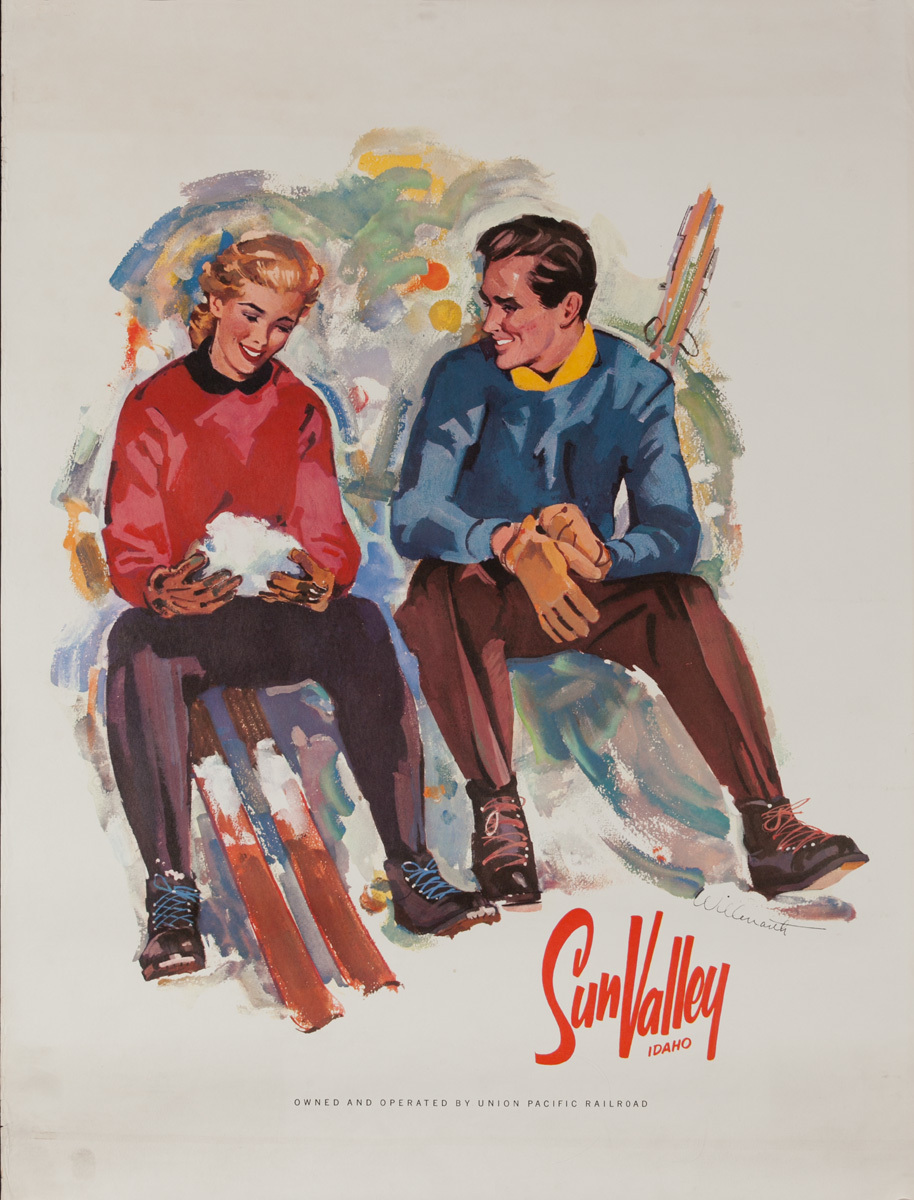 Sun Valley Idaho, Original Ski Poster Couple Apres Ski