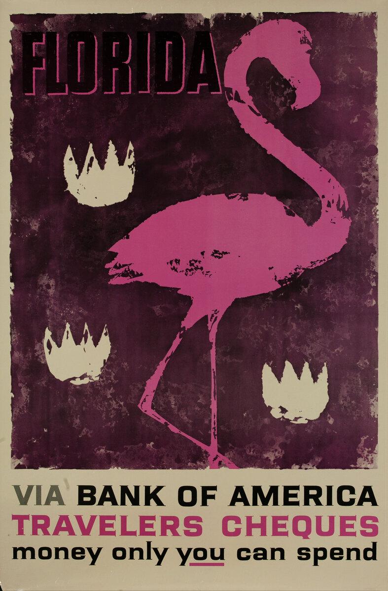 Bank of America Travelers Check Original Vintage Advertising Poster, Florida Flamingo