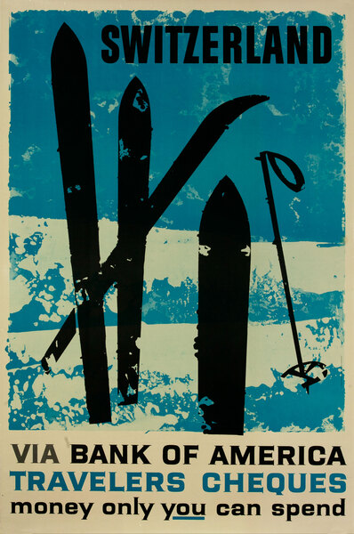 Bank of America Travelers Check Original Vintage Advertising Poster, Switzerland Skis
