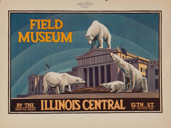 Take the Illinois Central to The Field Museum, Chicago Original Advertising Poster Polar Bear