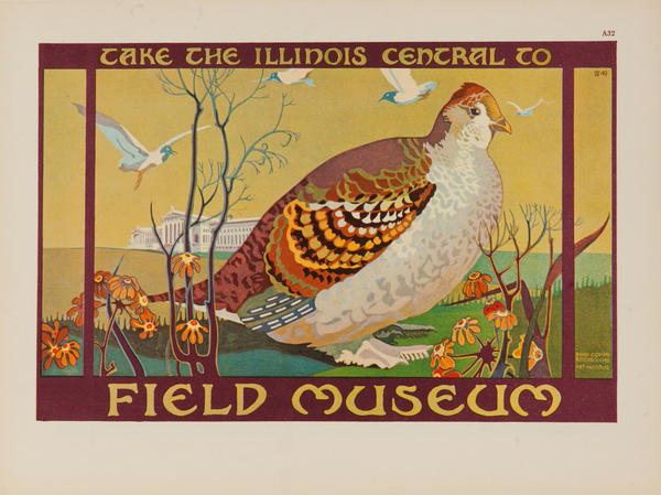 Take the Illinois Central to The Field Museum, Chicago Original Advertising Poster Quail