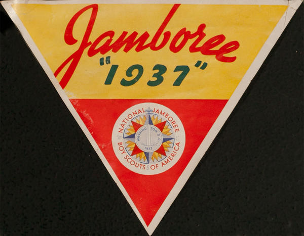 Original 1937 Boy Scout Jamboree Luggage Label, red yellow