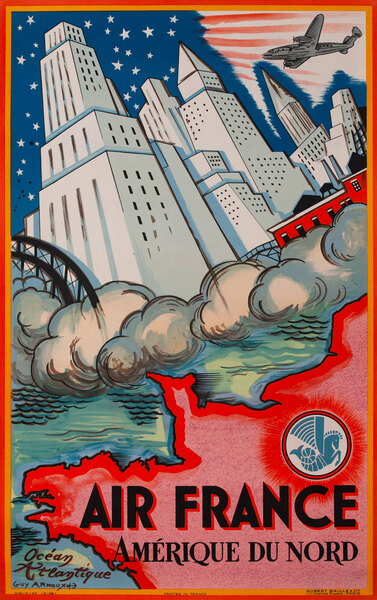Original Air France Poster, Amerique du Nord, North America