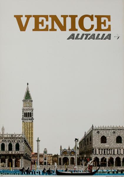 Original Alitalia Airlines Travel Poster, Venice Italy