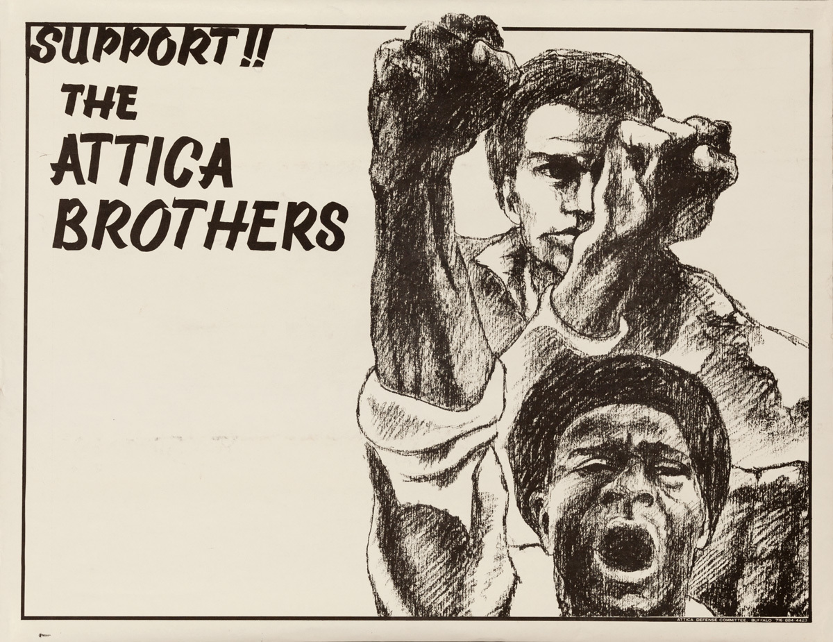 Attica Defense Committee Original American Protest Poster Support the Attica Brother