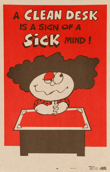 """Original 1970s Comic """"Good Humor"""" Poster, A Clean Desk is the Sign of a Sick Mind!"""
