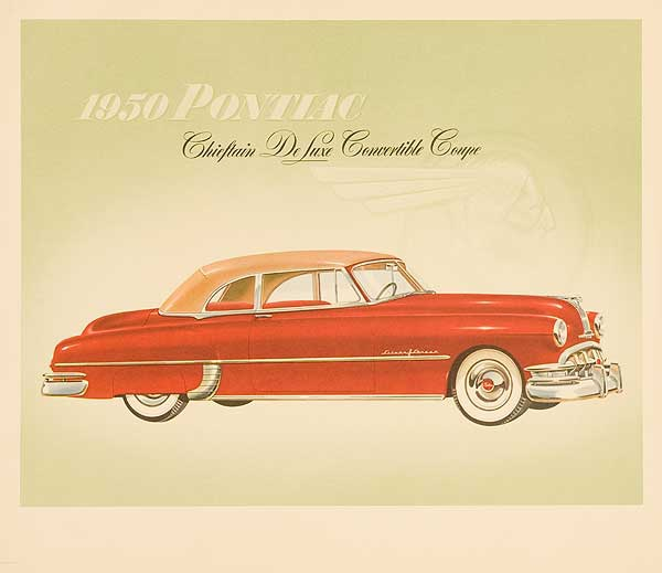 1950 Pontiac Chieftan Deluxe Convertible Coupe Original Showroom Advertising Poster