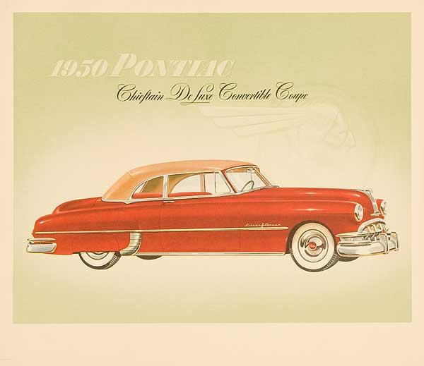 1950 Pontiac Chieftan Deluxe Convertible Coupe Original Showroom Advertising Poster