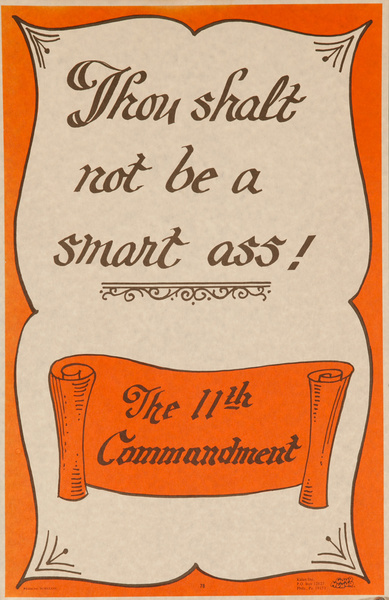 "Original 1970s Comic ""Good Humor"" Poster,  The 11th Commandment, That Shalt not be a Smart Ass!"