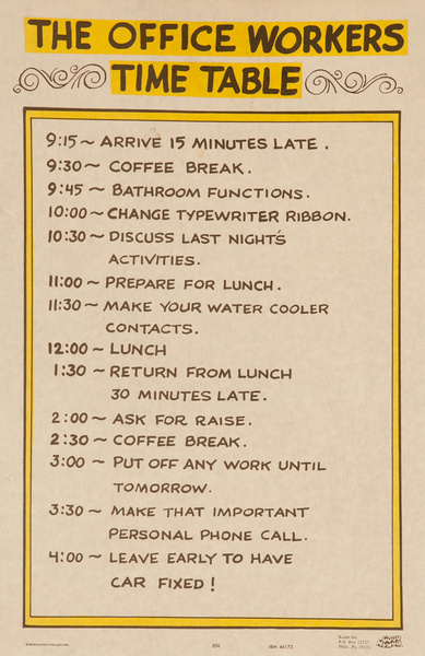 """Original 1970s Comic """"Good Humor"""" Poster, Office Workers Time Table"""