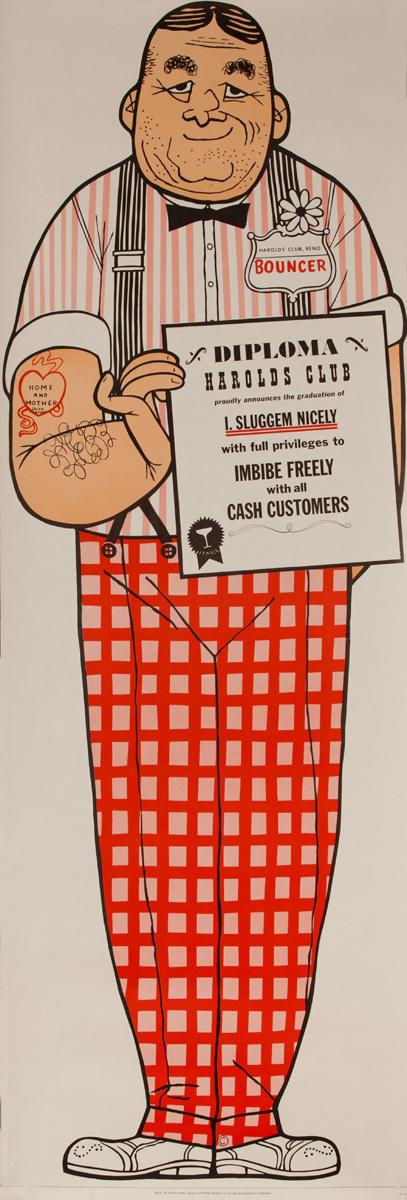 Original Harold's Club Casino Poster, I Sluggem Niceley Bouncer