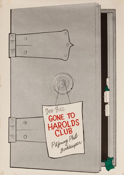 Original Harold's Club Casino Poster, Dear Boss Gone to Harold's Club Safe
