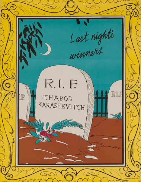 Original Harold's Club Casino Poster, Last Night's Winners RIP Ichabod Karashevitch