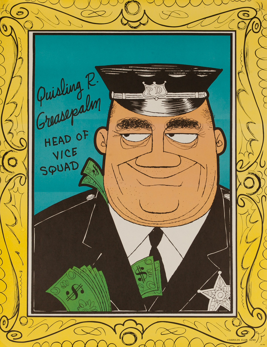 Original Harold's Club Casino Poster, Quisling R Greasepalm Head of Vice Squad