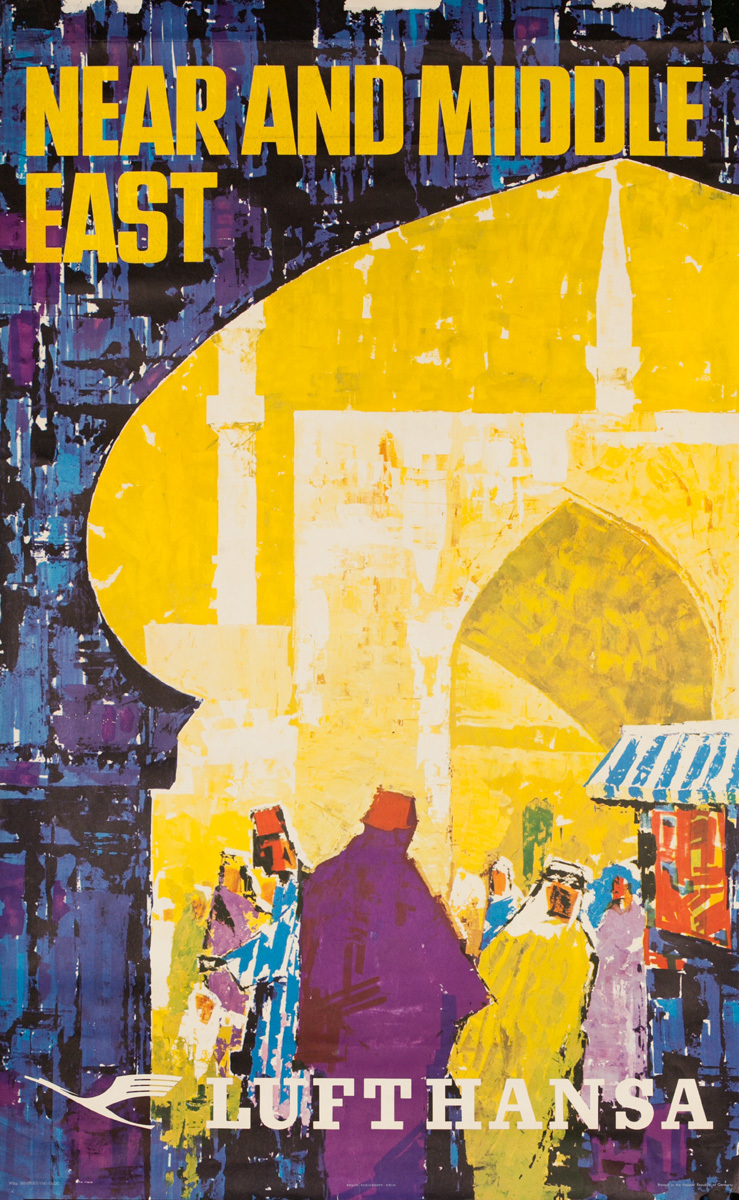 Near and Middle East Lufthansa Original Travel Poster