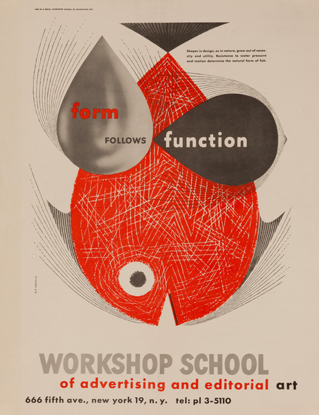 Workshop School of Advertising and Editorial Art, Original Poster, Form Follows Function Fish