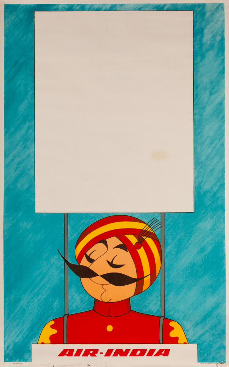 Original Air India Travel Poster Maharajah With Sign
