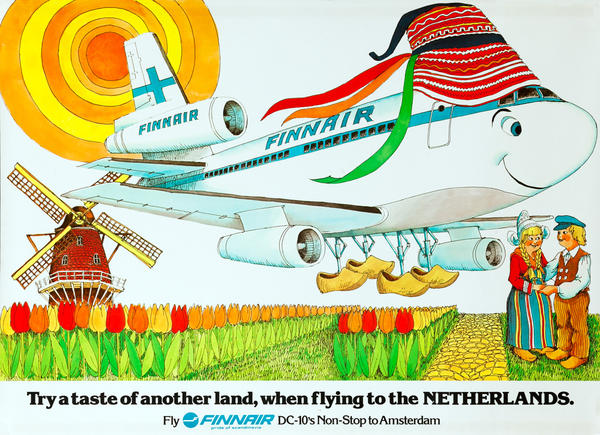 Original Finnair Travel Poster, When FLying to the Netherlands.