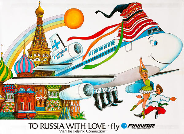 Original Finnair Travel Poster, To Russia With Love