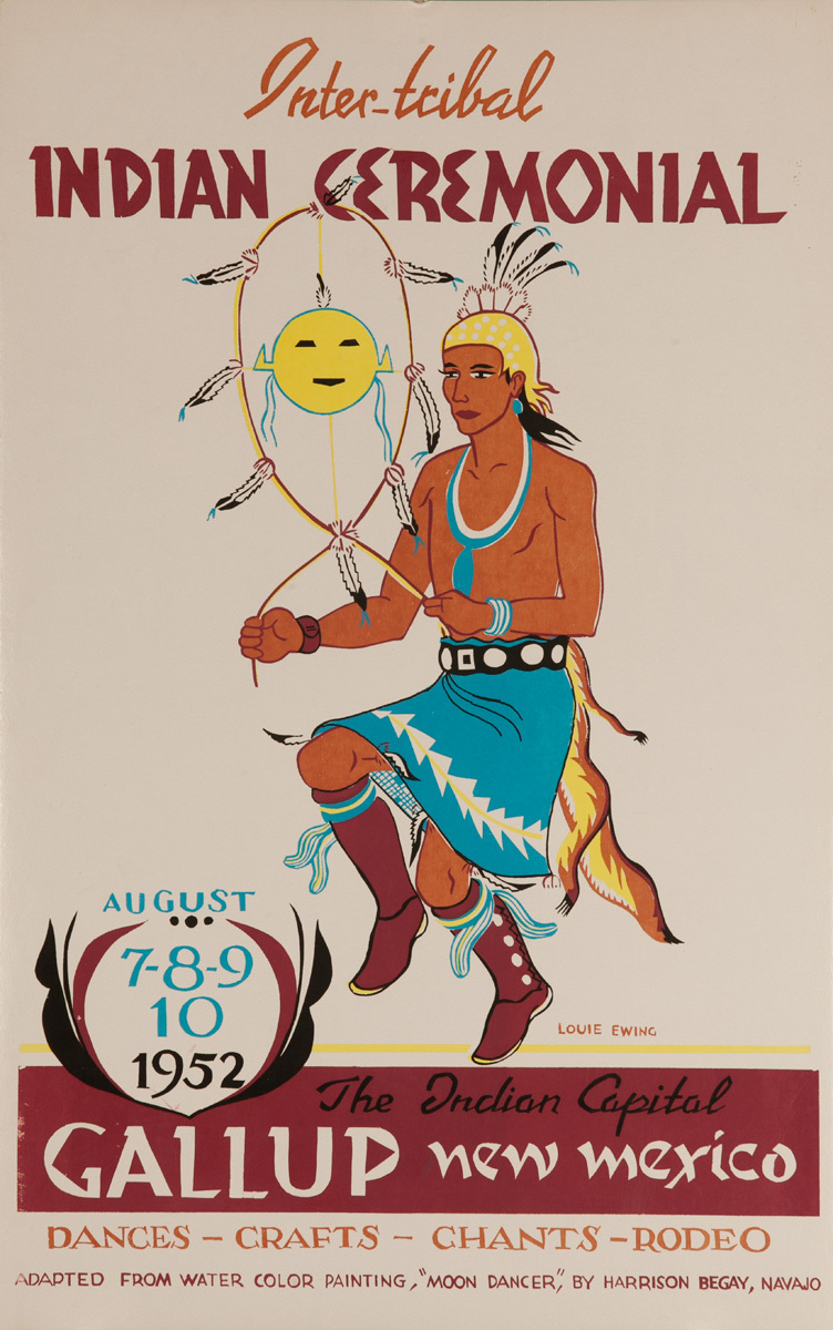 Original 1952 Poster, Inter-Tribal Indian Ceremonial, The Indian Capital - Gallup New Mexico