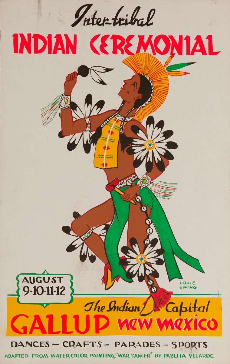 Original 1956 Poster, Inter-Tribal Indian Ceremonial, The Indian Capital - Gallup New Mexico