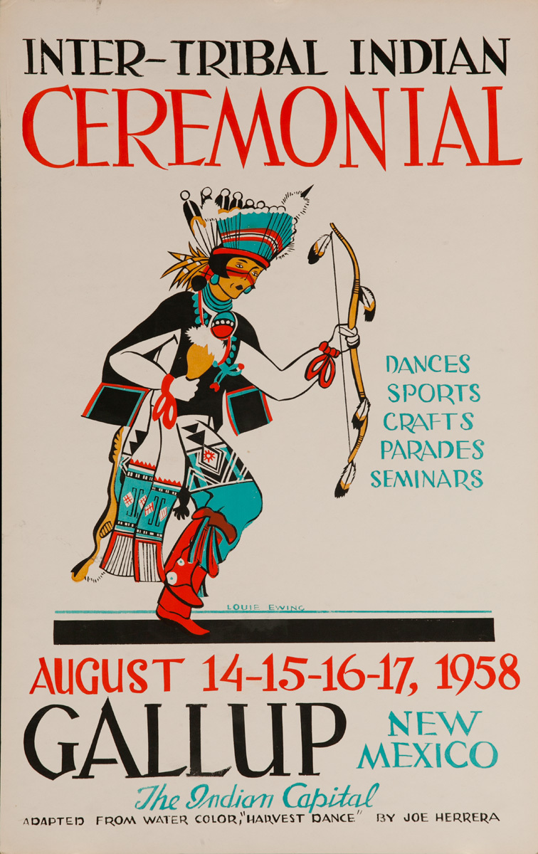 Original 1958 Poster, Inter-Tribal Indian Ceremonial, The Indian Capital - Gallup New Mexico