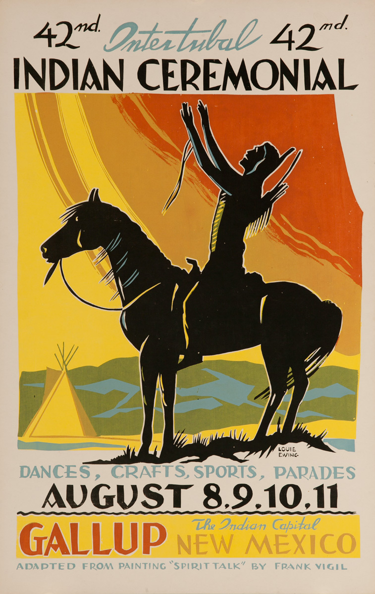 Original 1963 Poster, 42nd Inter-Tribal Indian Ceremonial, The Indian Capital - Gallup New Mexico