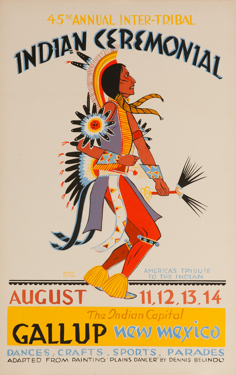 Original 1966 Poster, 45 Annual Inter-Tribal Indian Ceremonial, The Indian Capital - Gallup New Mexico