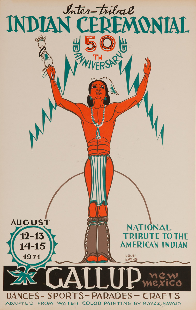 Original 1971 Poster, 50th Anniversary, Inter-Tribal Indian Ceremonial, The Indian Capital - Gallup New Mexico
