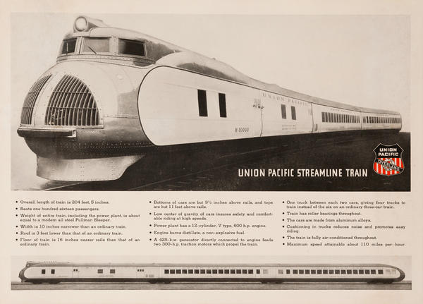 Union Pacific Streamline Train Original American Railroad Poster