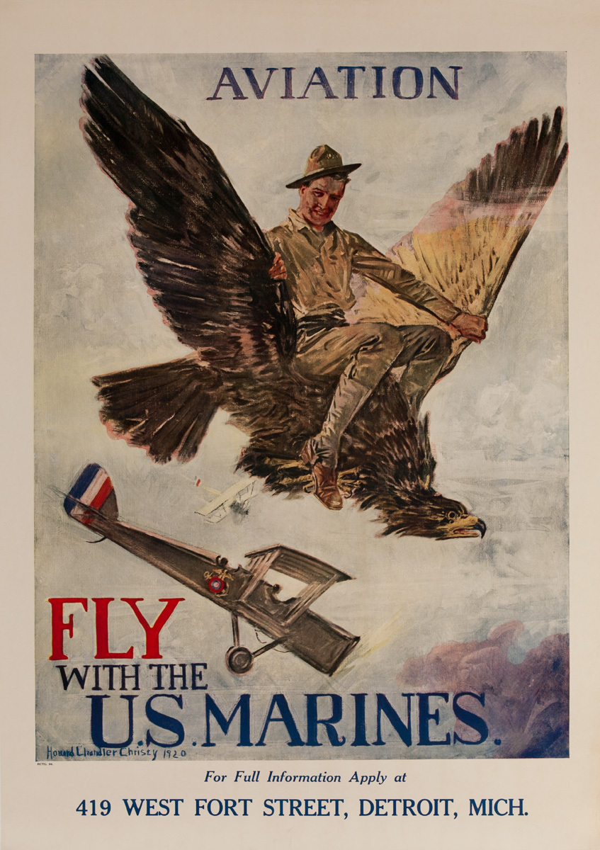 Aviation Fly With the U.S. Marines, Post WWI American Recruiting Poster