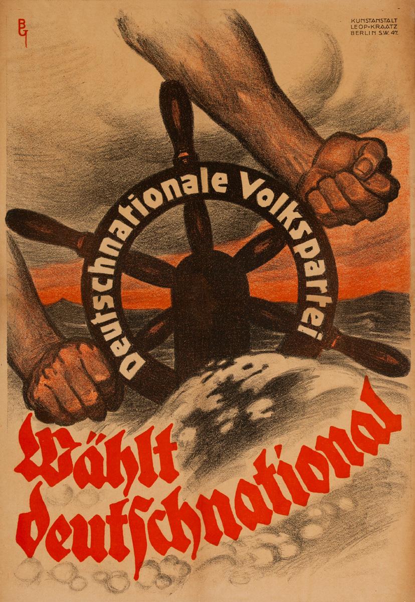 Wählt Deutschnational, Original post-WWI German Political Propaganda Poster,