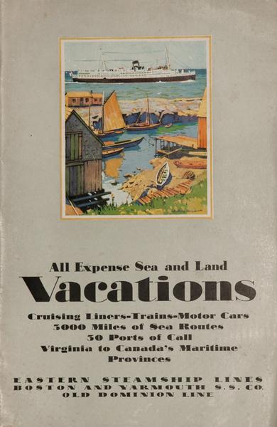 Sea and land Vacations, Original American Travel Brochure, Eastern Steamship Lines