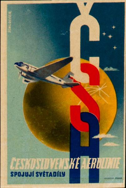 Original CSA Czechoslovakia Airways Luggage Label, Linked letters