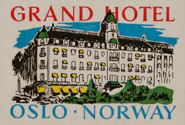 Grand Hotel Oslo Norway, Original Luggage Label
