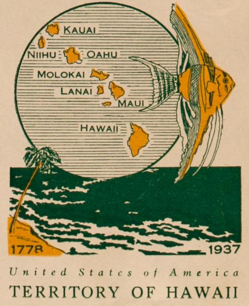 Territory of Hawaii United States of America Original Luggage Label