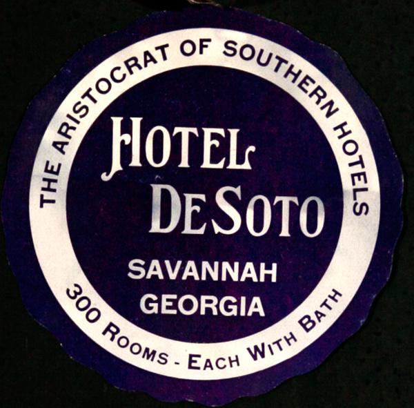 Hotel DeSoto Savannah Georgia Original American Luggage Label