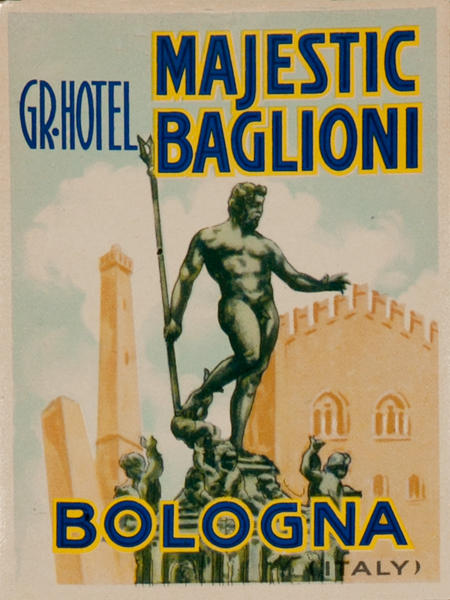 Grand Hotel Majestic Baglioni Bologna Italy, Original Luggage Label