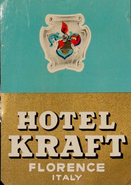 Hotel Kraft Florence Italy Original Luggage Label