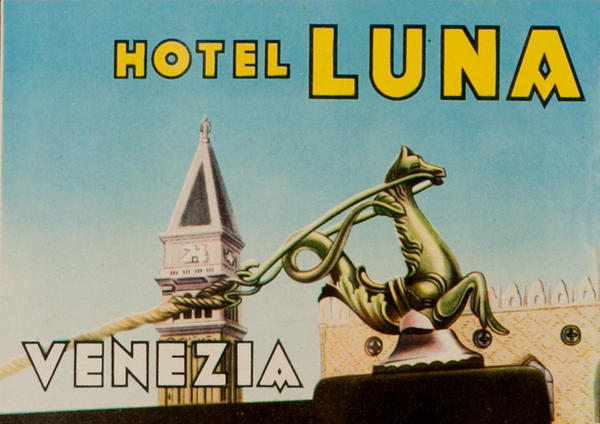 Hotel Luna Venice Italy Original Luggage Label