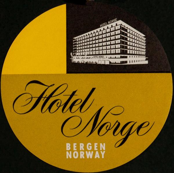 Hotel Norge Bergen Norway, Original Luggage Label