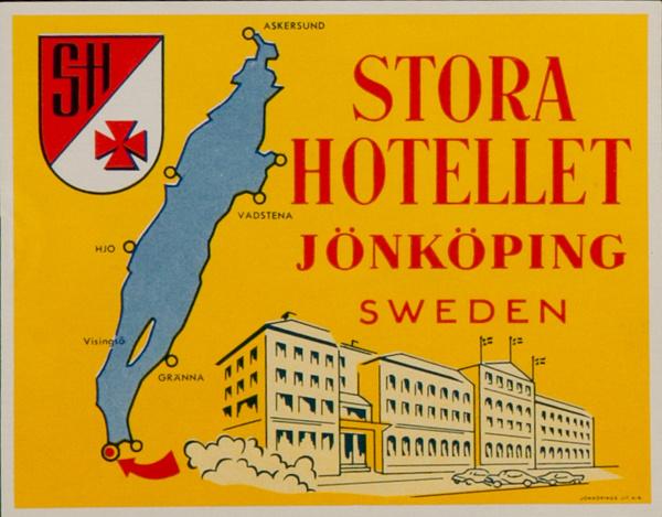 Store Hotellet Jonkoping Sweden Original Luggage Label