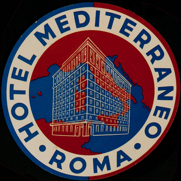 Hotel Mediterraneo Roma Italy Original Luggage Label