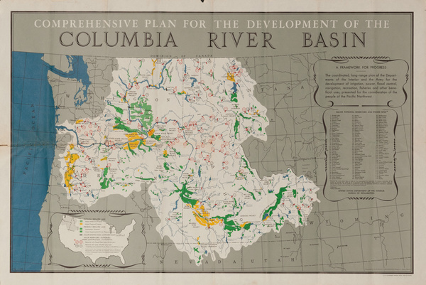 Comrehensive Plan for the Development of the Columbia River Basin, Original American Illustrated Map Poster